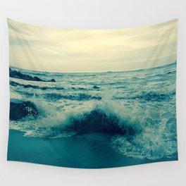 Waves crashing against rocks   Beach Wall Tapestry