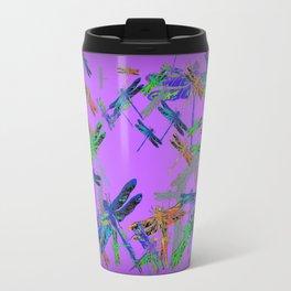 Decorative Green-Purple Dragonfly Lilac Skies Abstract Design Travel Mug