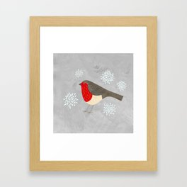 Robin and Snowflakes Framed Art Print