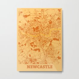 Newcastle - United Kingdom Sunset City Map Metal Print