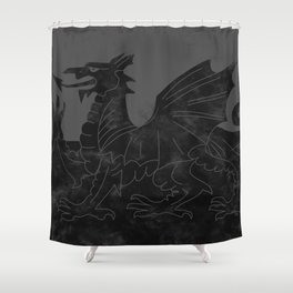 Black Wales Flag Shower Curtain