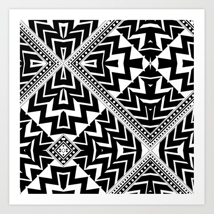 Black and White | Leyana Tribal 1 Art Print
