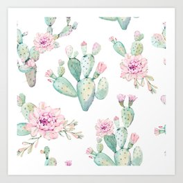 Simply Cactus Rose Art Print