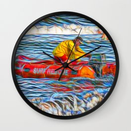 Abstract Surf rescue boat in action Wall Clock