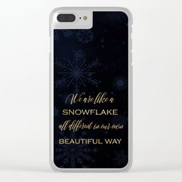 We are like a snowflake - gold glitter Typography on dark background Clear iPhone Case