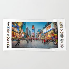 Times Square Sparkle (with typography) Beach Towel