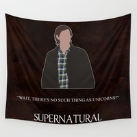 winchester Wall Tapestries featuring Supernatural - Sam Winchester by MacGuffin Designs