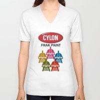 battlestar V-neck T-shirts featuring Cylon Frak Paint by Don Calamari