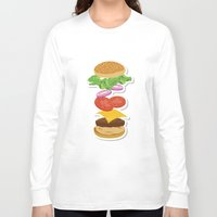 burger Long Sleeve T-shirts featuring Burger by Daily Design