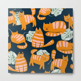 Whimsicat #illustration #animalprint #pattern Metal Print