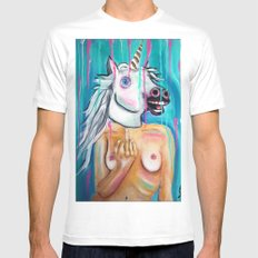 Because I'm a unicorn, that's why White Mens Fitted Tee MEDIUM