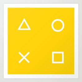 Yellow Gamer Pattern Art Print