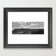 Monochrome version of a Whitby Harbour Panorama Framed Art Print