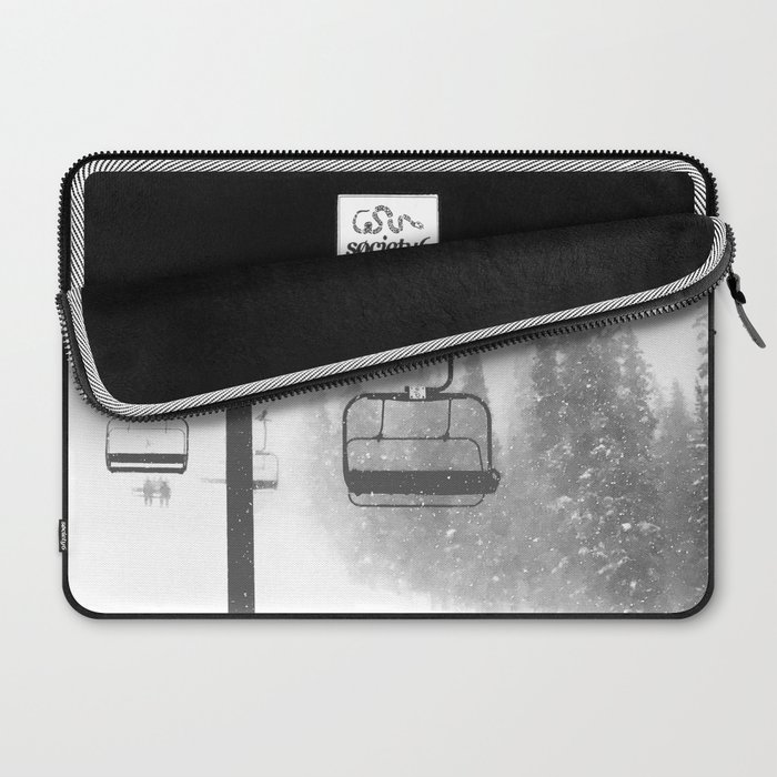 Chairlift Abyss // Black and White Chair Lift Ride to the Top Colorado Mountain Artwork Laptop Sleeve