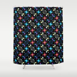Colored Office Bits and Pieces Pattern Shower Curtain