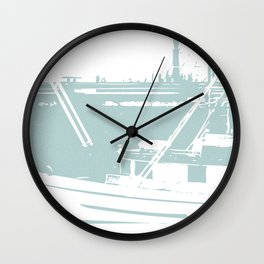 Sailboat in White and Pastel Blue Wall Clock