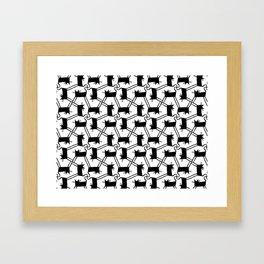 Black Cat Pattern Framed Art Print