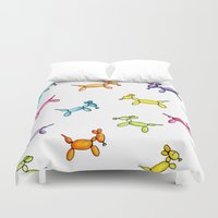 puppies Duvet Covers featuring Balloon Puppies by Pooster the Bear
