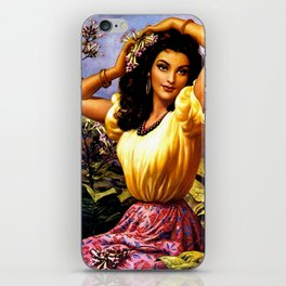 Mexican Beauty with Purple Flower by Jesus Helguera iPhone Skin