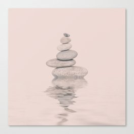 Balanced Harmony Zen Pebble soft pink Canvas Print