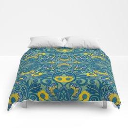Blue Vines and Folk Art Flowers Pattern Comforters