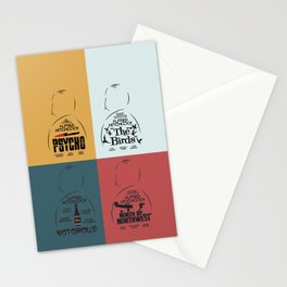 Four Hitchcock movie poster in one (Psycho, The Birds, North by Northwest, Notorious), cinema, cool Stationery Cards