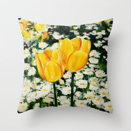 Tulips and Daisies Throw Pillow