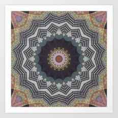 Bohemian Dream Sequence --Whimsical Vintage Textile Kaleidoscope Mandala Art Print