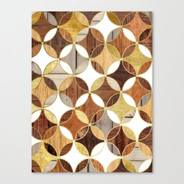 Wood and Gold Geometric Canvas Print