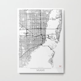 Miami Map White Metal Print