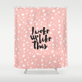 Funny expression coral white modern polka dots  Shower Curtain
