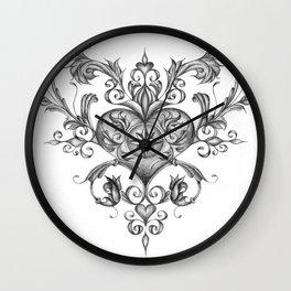 Filigree Love heart. Wall Clock