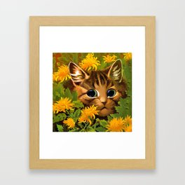 """Louis Wain's Cats """"Tabby in the Marigolds"""" Framed Art Print"""