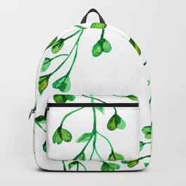 Green Clover Seamless Leafy Watercolour Pattern Backpack