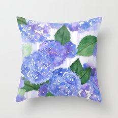 Hydrangeas and Stripes Throw Pillow