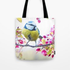 Romantic Flower Blossom with blue tit spring bird Tote Bag