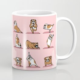 English Bulldog Yoga in Pink Coffee Mug