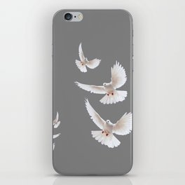 WHITE PEACE DOVES ON GREY COLOR DESIGN ART iPhone Skin