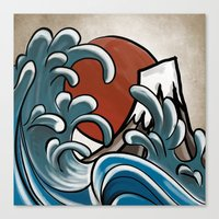 hokusai Canvas Prints featuring Hokusai comic by Nxolab