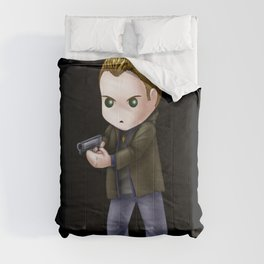 Chibi Dean Winchester (Black BG) Comforters