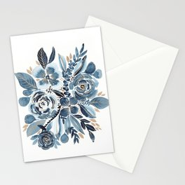 Indigo & gold floral 4 Stationery Cards