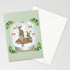 Snow globe deer Stationery Cards