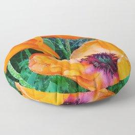 Orange Poppies Floor Pillow