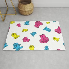 Pink, yellow and blue pattern monkey Rug