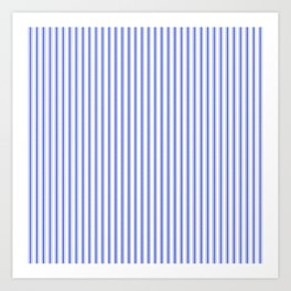Small Vertical Cobalt Blue and White French Mattress Ticking Stripes Art Print