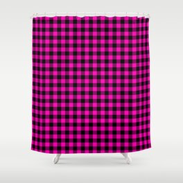 Bright Hot Neon Pink and Black Gingham Check Shower Curtain