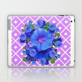Lilac-White Pattern Blue Morning Glories Art Laptop & iPad Skin