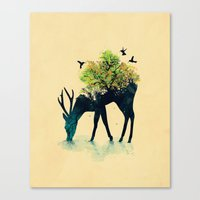 birds Canvas Prints featuring Watering (A Life Into Itself) by Picomodi