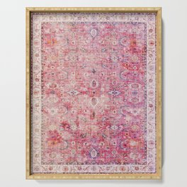 N45 - Pink Vintage Traditional Moroccan Boho & Farmhouse Style Artwork. Serving Tray