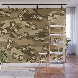Dumbbell Gym Camo DESERT Wall Mural